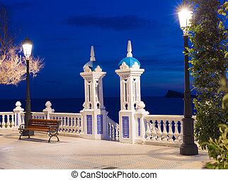 mediterraneo, benidorm, balcon, alicante, coucher soleil, espagne