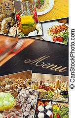 mediterraneo, cibo sano, &, menu, fotomontaggio