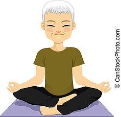 meditieren, älter, jogamann