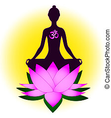 meditieren, frau, om symbol