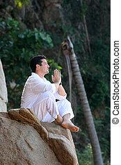 meditieren, mann