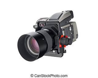 Medium Format Camera - A camera body with lensboard and lens...