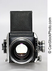 Picture of a medium format camera frontview. For everybody who wants to know the model: It´s my Rolleiflex SL 66 with fitted Carl Zeiss Sonnar 150mm f4 lens from the 60's.