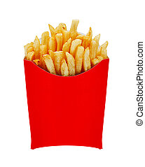 medium fries in box isolated on white - French Fries or...