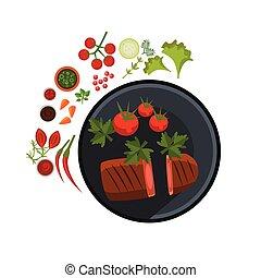Medium Grilled Steak on Plate. Vector Illustration