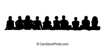 medium group of adults seated silhouettes 1