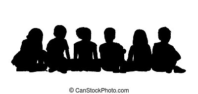 black silhouettes of medium group of children about age 5-10 seated in a row on the floor face to the onlooker in different postures