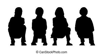 medium group of children seated silhouette 3