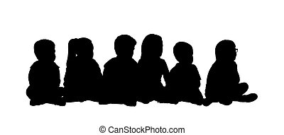 medium group of children seated silhouette 5