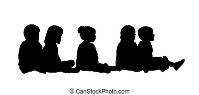 silhouette of a group of preschool children seated in a row on the floor in different postures, profile view