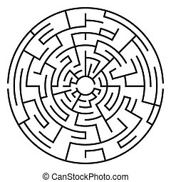 medium, isolerat, complexity., bakgrund., labyrint, vit, cirkulär