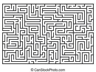 medium, isolerat, illustration, labrinth., bakgrund., difficulty., vit, labyrint