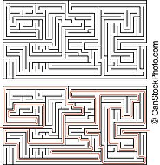 medium, lösning, rektangulär, komplexitet, labyrint, bana, vit röd