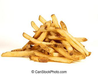 Medium Pile of Fries on White