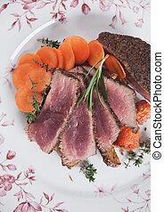 Medium rare beef steak