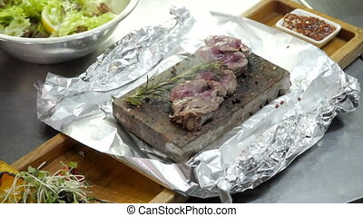 Medium Rare Meat on a Hot Stone