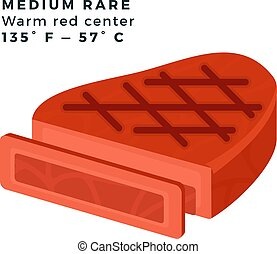 Medium Rare steak vector flat icon - Medium Rare Warm red ...