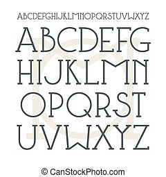Medium serif font in classic style. Black font on light...