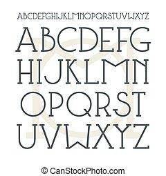 Medium serif font in classic style. Black font on light background