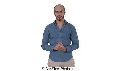 Arabic man in casual making attention gesture finger up on...
