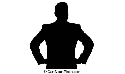 Silhouette Businessman looking around with hands on hips. -...