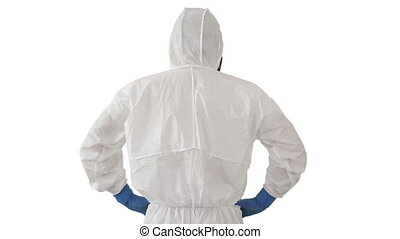 We failed Male doctor scientist inprotective suit holding his head on white background.