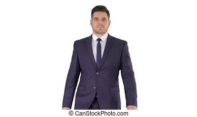 Businessman walking isolated on white background.