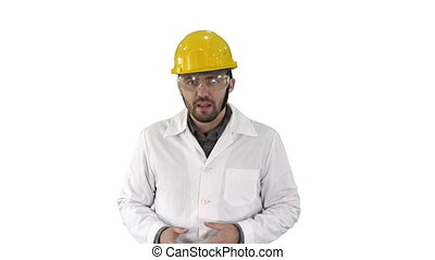 Confident Engineer Man Talking Camera on white background...