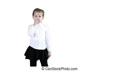 Cute happy girl singing into imaginary microphone on white background.