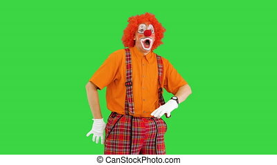 Medium shot. Front view. Funny clown being late looking at his watch but takes it easy on a Green Screen, Chroma Key. Professional shot in 4K resolution. 061. You can use it e.g. in your medical, commercial video, business, presentation, broadcast