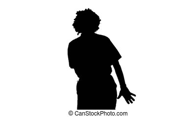 Medium shot. Front view. Silhouette Clown walking in a comic way towards the camera. Professional shot in 4K resolution. 061. You can use it e.g. in your medical, commercial video, business, presentation, broadcast