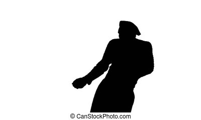 Medium shot. Front view. Silhouette Mime pulling an imaginary rope. Professional shot in 4K resolution. 061. You can use it e.g. in your medical, commercial video, business, presentation, broadcast