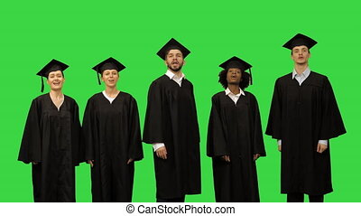 Group of Graduate Students Singing As Choir on a Green Screen, Chroma Key.