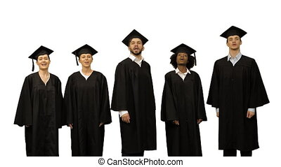 Group of Graduate Students Singing As Choir on white background.
