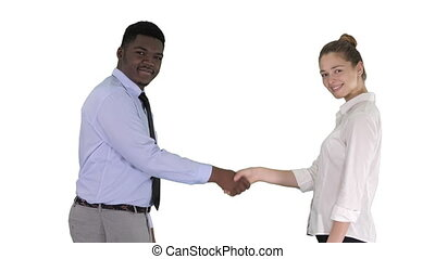 Handshake of business woman and business man posing for the picture on white background.