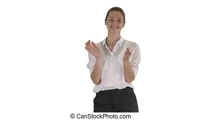 Happy young businesswoman clapping hands on white...