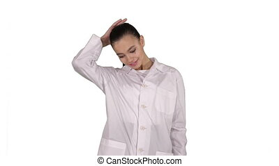 Happy young woman doctor dances on white background. -...