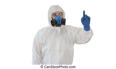 Male doctor in protective clothes pointing to sides presenting r