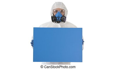 Medium shot. Mockup blue screen. Male doctor wearing protective clothes holding blank banner on white background. Professional shot in 4K resolution. 53. You can use it e.g. in your medical, commercial video, business, presentation, broadcast
