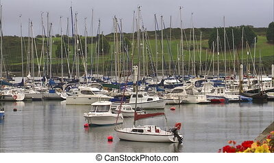 Medium shot of a boats docked in a bay - Medium shot of a...