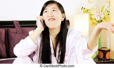 Medium shot of angry asian woman