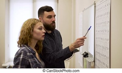 Medium shot of Guy and girl learn hieroglyphs in the office.