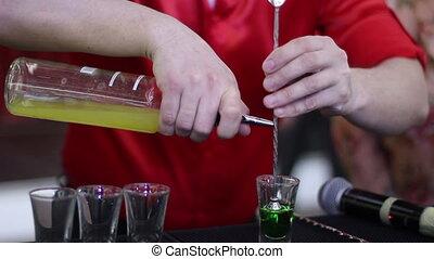 Medium shot of preparing green mexican cocktail
