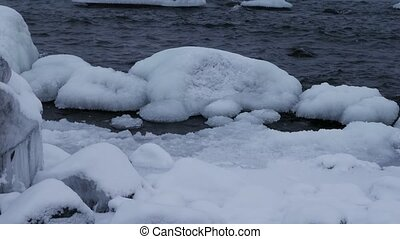 medium shot of winter sea with snow rocks