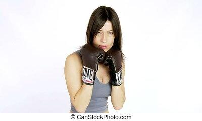 Medium shot of woman boxing - Sexy woman boxing fast