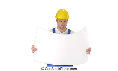 Professional engineer worker looking at blueprint on white background.