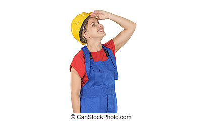 Engineer construction worker woman looking up at something amazi
