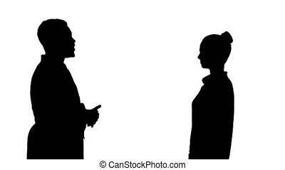 Silhouette Acquaintance doctor with a patient.