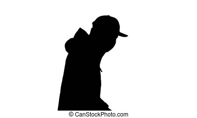 Silhouette Ault man in jacket and in medical mask running.