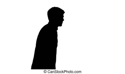 Silhouette Exhausted young man suffering from heat while ...